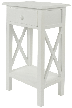 """side table """"Meridian"""", with drawer, white"""