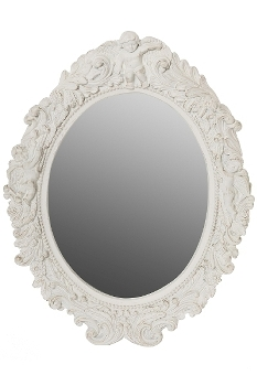 "oval mirror ""Mogallal"", white"