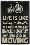 "board with slogans ""Life is like riding a"