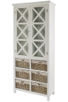 "glass cabinet ""Marina"", with rattan baskets"