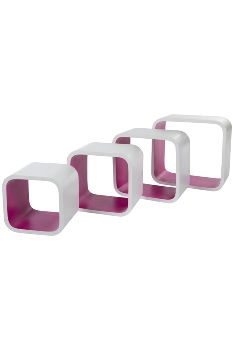 "Cubic ""Kim"", set of 4 - white - purple"