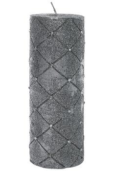 Silberkerze mit Steinen