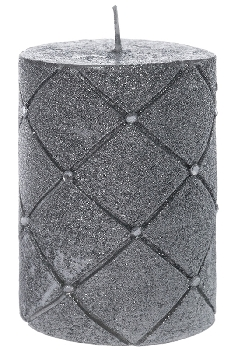 silver candle with stones