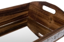 "metal /wood tray ""Nassar"", with mirror, small"