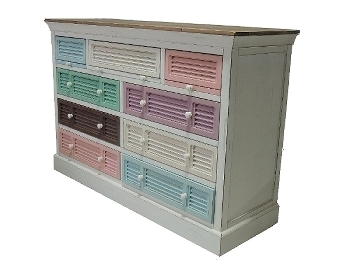 "side board ""Rainbow"", with 9 drawers , multicolour"