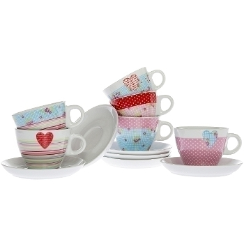 "6 set of cups and saucers ""Amour"""