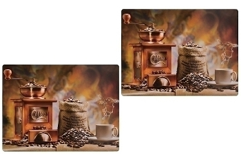 set of 2pcs placemat with color printed coffee design