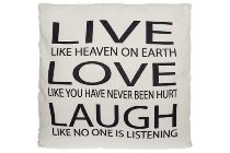 "cushion with filling ""Live like heaven white"""