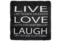 "cushion with filling ""Live like heaven black"""