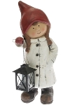 girl winter children, with metal lantern,