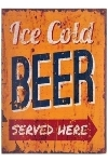"wooden plate ""Ice cold beer"""