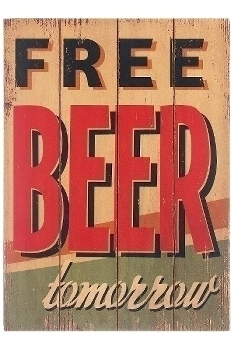 "wooden plate ""Free beer"""
