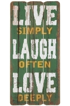 """wooden plate """"Live Simply"""""""