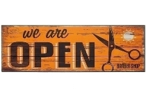 """wooden plate """"We are open II"""""""