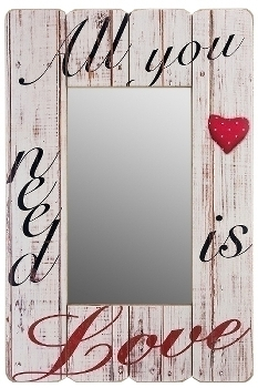 "wooden mirror ""All you need is love"""