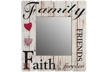 """wooden mirror """"Family Friends Faith forever"""""""