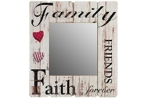 "wooden mirror ""Family Friends Faith forever"""