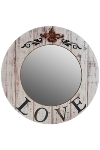"wooden mirror round ""Love"""