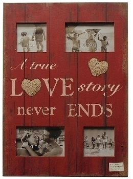"wooden foto frame ""A true love Story never ends"""
