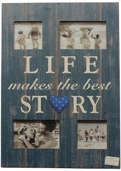 "wooden foto frame ""Life makes the best story"""