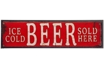 """metal plate """"Ice cold beer sold here"""""""