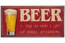 "metal plate ""Beer is the reason"""