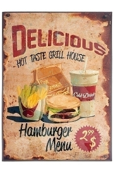 "metal plate ""Delicios Grill House"""