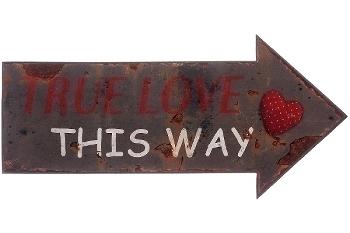 """metal plate """"True love this way"""""""
