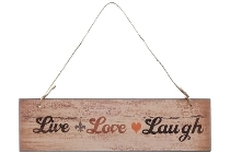 "wooden plate ""Live Love Laugh"""