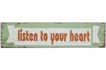 """wooden plate """"Listen to your heart"""""""