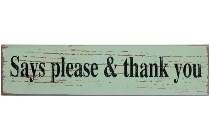 "wooden plate ""Say please & thank you"""