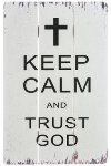 "wooden plate ""Trust God"""
