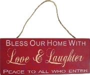 "wooden plate ""Bless our home"""