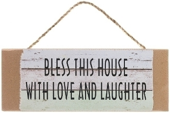 "wooden plate ""Bless this house"""