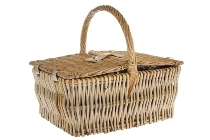 "picnic basket ""Ava"", blue/white for 4"
