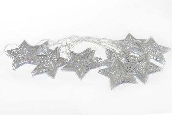 10er LED Lichterkette Stern weiss, L: 200 cm