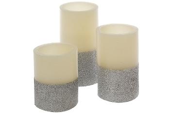 """3er Set LED Kerze """"Silver Star"""" natur/silber"""