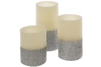3er Set LED Kerze natur/silber mit