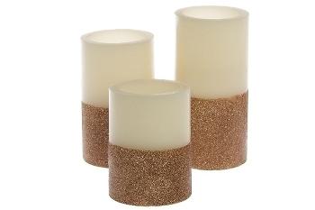 """3er Set LED Kerzen """"Goldstar"""" natur/kupfer"""