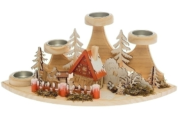 Winterszene mit Teelichthalter aus Holz, mit