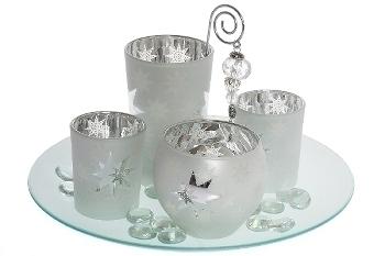 Deko-Glas-Set  Stern weiss/silber (4Teelg.)