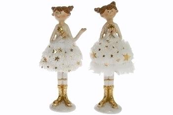 2er Set Ballerina weiss/gold H 15 cm