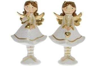 2er Set Engel weiss/gold H 15,5 cm