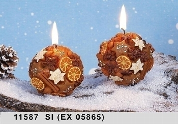 2 pieces cookie style ball shaped candles cinnamon-orange style with 1% orange