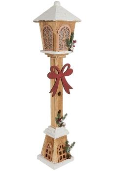 Holzlaterne, 80cm h m. 15er Lichterkette