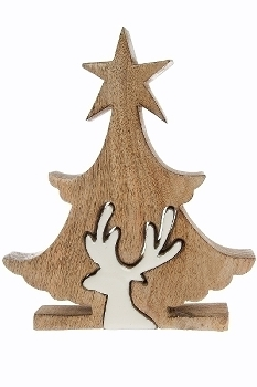 Deko Puzzle Star Baum mit Renntier, klein