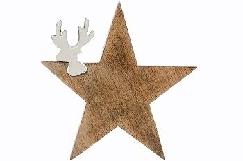 Deko Puzzle Star mit Renntier, groß