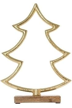 Metallbaum offen auf Holzfuß H 12cm gold