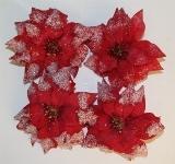 4er-Set Christstern, gefrostet, mit Clip, rot