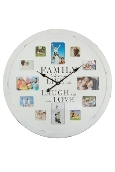 "wall clock ""Family Foto"", wooden"